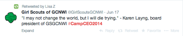 Girl Scouts Camp CE0 2014 tweets #campceo2014